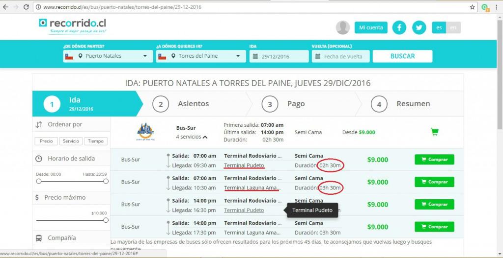 Compra de pasajes desde Puerto Natales a Torres del Paine