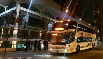 NarBus frente al Centro Comercial Omnium en Las Condes, punto de embarque Recorrido.cl Las Condes